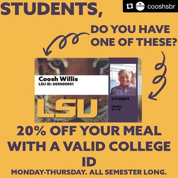 @cooshsbr in #CollegeTown has a sweet deal for our returning students! ・・・ We love our students and can't wait for y'all to come back for a new semester! Come visit us with a valid college ID Monday-Thursday from 11-2, and get 20% off your meal!! We're going to keep this rolling All. Semester. Long.