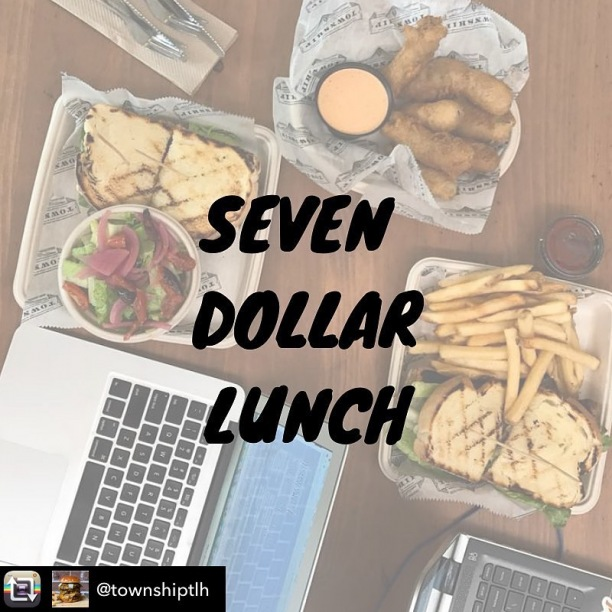 #Repost from @townshiptlh - Balling on a budget? Every Thursday over Summer we have five items for $7. Helluva deal. $7 options available from 12-4pm on Thursdays — - Beer Chicken Sandwich - Town Cobb Salad - Double Burger - Bratwurst - Nashville Chicken
