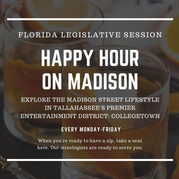 Legislative session has officially kicked off and the merchants here #OnMadison are rolling out the ultimate weekday happy hour specials, including:  51 on Madison – ‪4-6:30 p.m.‬ - half off all beer and glasses of wine - specialty priced well liquor ‪Madison Social – 4-7 p.m. ‬ - $6 select sociables - $6 beer cocktails - $1 off all wine - $3 well liquor - select discount on all draft beer  Township – ‪5-7 p.m.‬ - $6 half liter beer cocktails - $6 people's cocktails - $6 shot and beer combos - $5 TWP fries - $4 half liter Proof beer - $3 well liquor - $2 baby daddy pretzels  Centrale – ‪5-7 p.m.‬ - $6 select wines glass - $5 risotto ball and calamari - $5 cocktails - $5 ice pops - $4 house wines glass - draft and package beer discounts  Coosh's – ‪4-7 p.m.‬ - $3 well liquor - $1 off wine and draft beer  Tin Lizzy's – ‪4-6 p.m.‬ and ‪10 p.m.‬ until close - $5 appetizers - $5 Cinco margaritas - $4 drafts - $3 well liquor  Vale – ‪1-6 p.m.‬ - 15% off entire menu when you mention you're in town for session  Littl