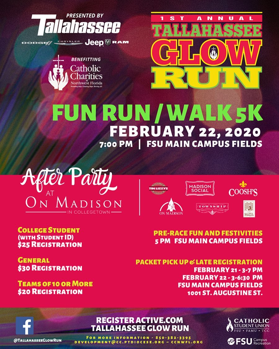 Have you signed up for Tallahassee's First Annual Glow Run taking place this Saturday, Feb. 22nd at 7 p.m.? If not, register now at ➡️ active.com ⬅️ and be sure to join us #OnMadison for the official After Party Celebration in #CollegeTown post-run. All participants will receive exclusive offerings from our merchants on Madison... because who doesn't love a good discount and free stuff?!