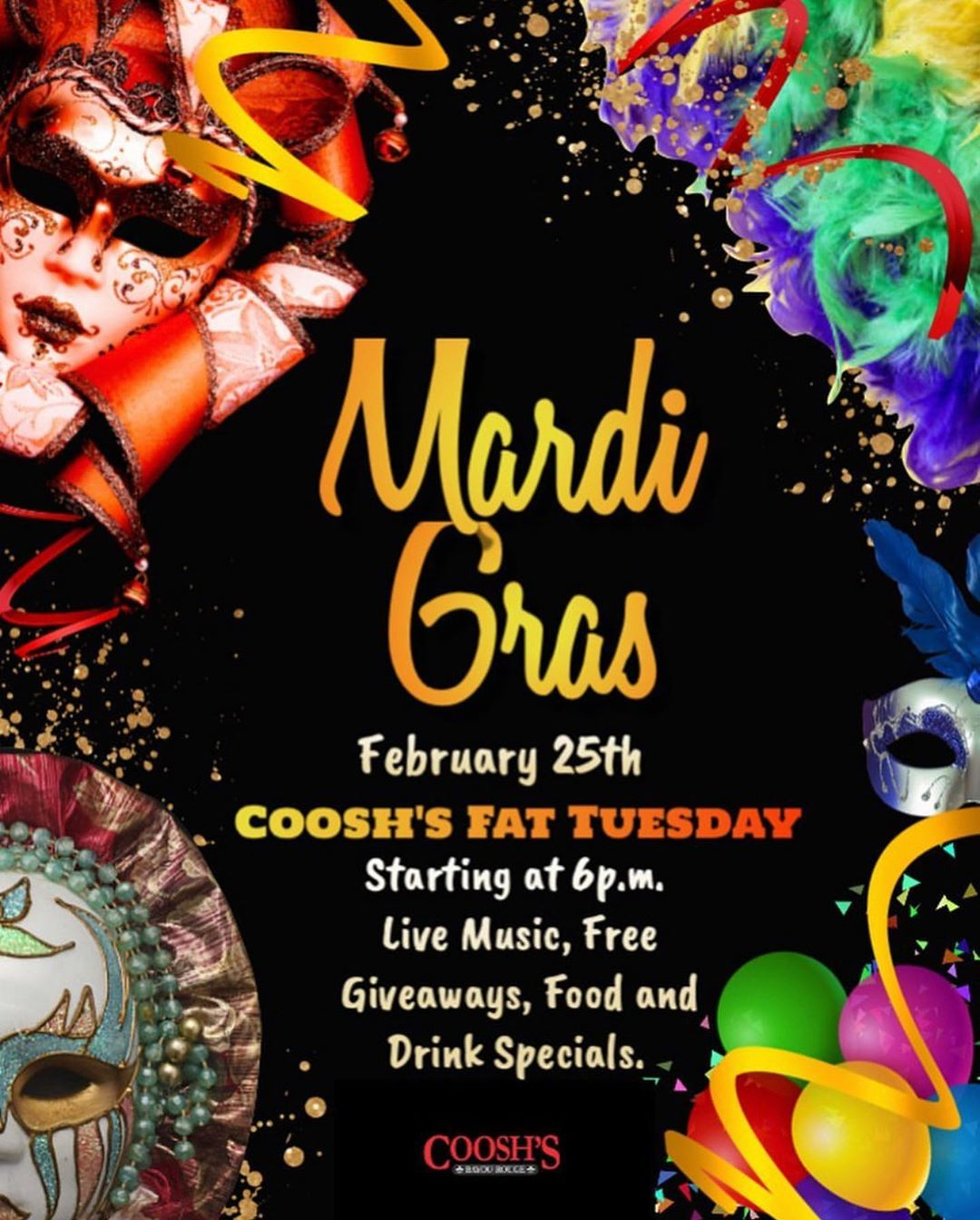 Coosh's Bayou Rouge is bringing Mardi Gras to Madison St. in the CollegeTown district! Come out and celebrate their festive Fat Tuesday event ‪tomorrow, Tuesday, February 25,‬ and enjoy live music, food and drink specials, free giveaways, plus more! The party kicks off ‪at 6:00 p.m.‬ and is free admission for all. See specials below: . . . Drink Specials: -5 Captain Hurricanes -$5 Daiquiris -$5 Sevilla 75s . . . Food Specials: -$5Jambalaya Pasta -$4 Beignet Fingers . . . This is one celebration you don't want to miss!